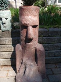 Red Moai Head Statue